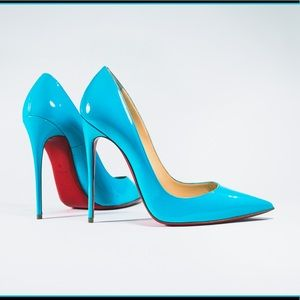 So Kate, blue, patent leather